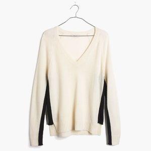 Madewell Line Stripe Merino Wool v neck sweater